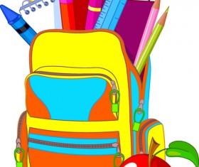 Funny School bag design elements vector 01