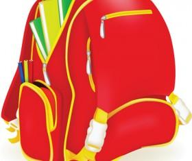 Funny School bag design elements vector 03