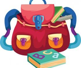 Funny School bag design elements vector 04