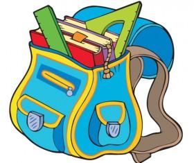 Funny School bag design elements vector 05
