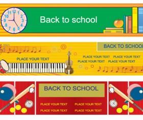 Set of School elements banners vector 01