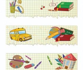 Set of School elements banners vector 03