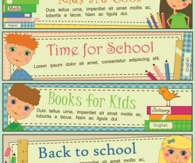 Set of School elements banners vector 04