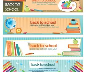 Set of School elements banners vector 05