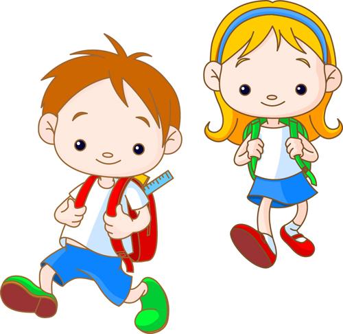 set of cute school children design vector material 05