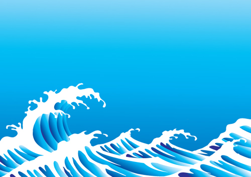 Surging Sea Wave Vector Backgrounds 03 Vector Background