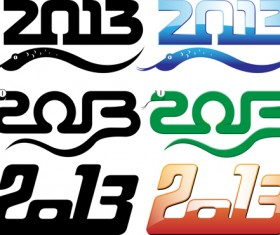 Set of 2013 year of snake design vector 09