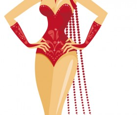 Set of Show Girl design elements vector 04