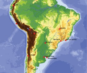 Vivid South America map design vector material 04