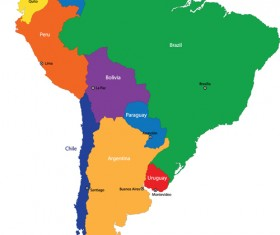 Vivid South America map design vector material 05