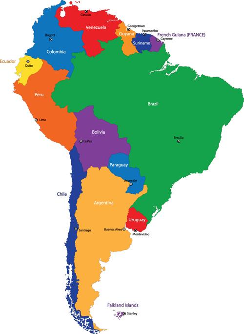 Vivid South America map design vector material 05 free download