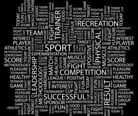 Sport elements text mix vector
