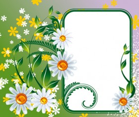Vector of Spring Fresh Flower Frame set 01