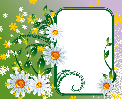 Vector of Spring Fresh Flower Frame set 01 free download