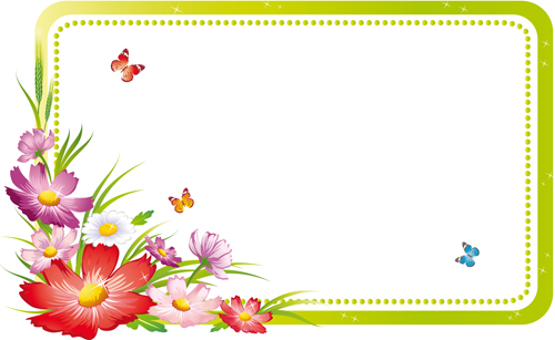 Vector of Spring Fresh Flower Frame set 10