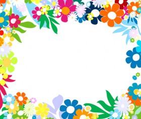 Vector of Spring Fresh Flower Frame set 02