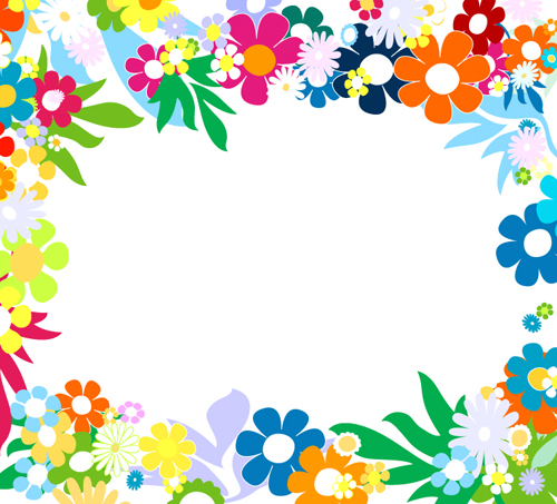 Vector of Spring Fresh Flower Frame set 02
