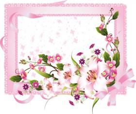 Vector of Spring Fresh Flower Frame set 03