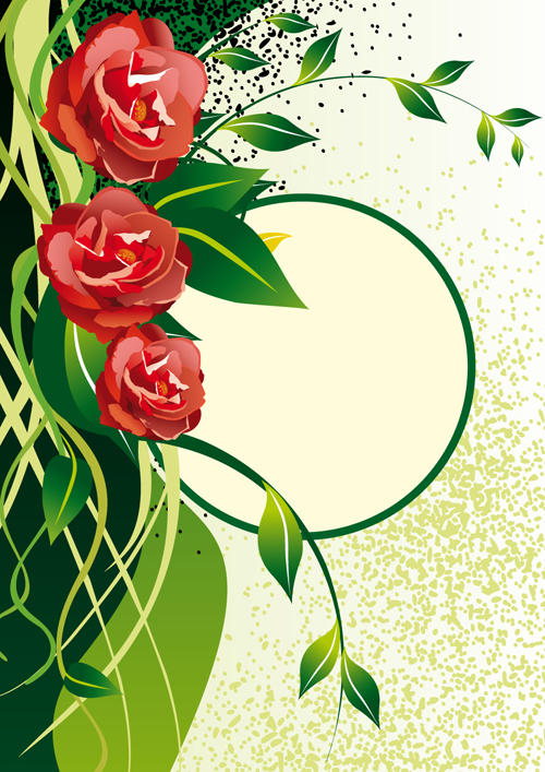 Vector of Spring Fresh Flower Frame set 04