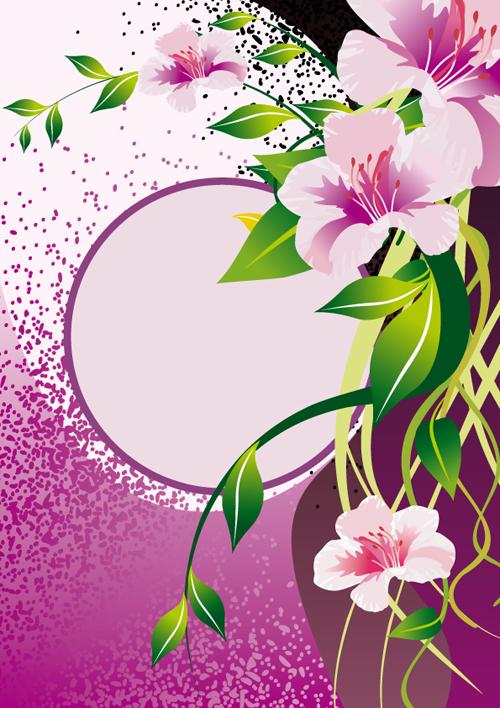 Vector of Spring Fresh Flower Frame set 05