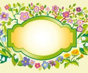 Vector of Spring Fresh Flower Frame set 07