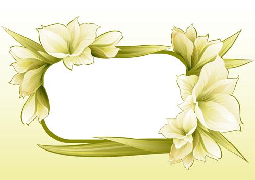 Vector of Spring Fresh Flower Frame set 09