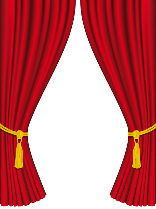 Red Curtain For Backstage Design Vector 05