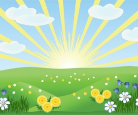 Elements of Summer glade vector background 02