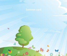 Elements of Summer glade vector background 05