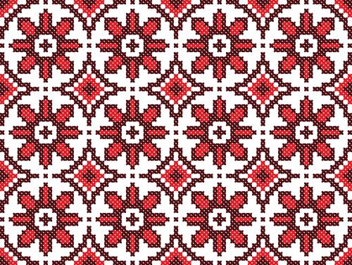 Ukraine Style Fabric ornaments vector graphics 13