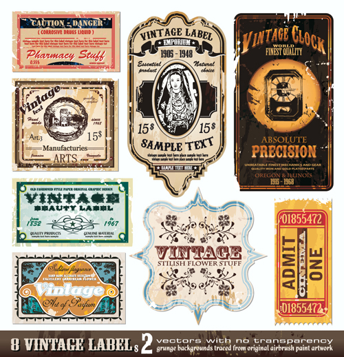 Vector set of Creative Vintage Labels 01