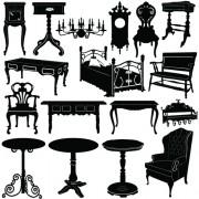 Link toDifferent vintage furniture design vector set 05