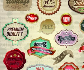 Vintage premium quality labels and stickers vector 01