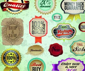 Vintage premium quality labels and stickers vector 02