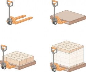 Warehouse with Worker elements vector graphic 04