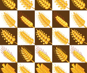 Set of Wheat patterns mix vector 03