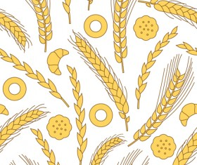 Set of Wheat patterns mix vector 05