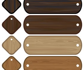Set of Wooden labels vector graphic 01