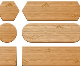 Set of Wooden labels vector graphic 03