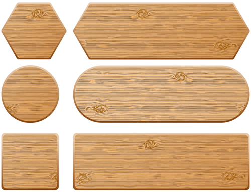 Set of Wooden labels vector graphic 03 - Vector Label free download