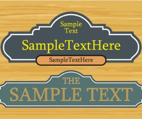 Set of Wooden labels vector graphic 04