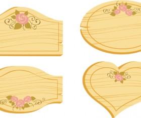 Set of Wooden labels vector graphic 05