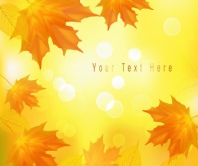 Yellow Autumn Leaves vector backgrounds set 02