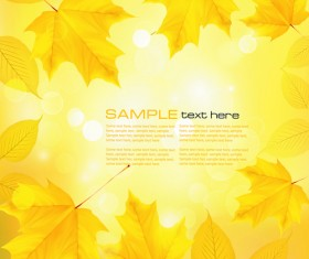 Yellow Autumn Leaves vector backgrounds set 04