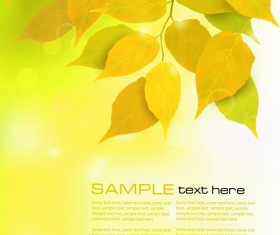 Yellow Autumn Leaves vector backgrounds set 05