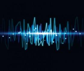 Various Audio wave light vector backgrounds set 04