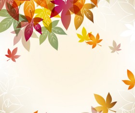 Autumn Beautiful leaves theme background vector 05