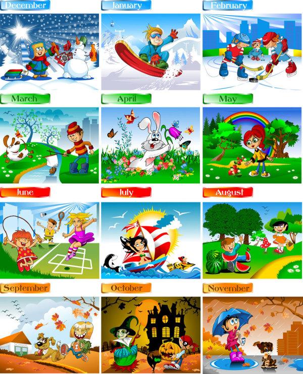 Cute cartoon Calendar design vector