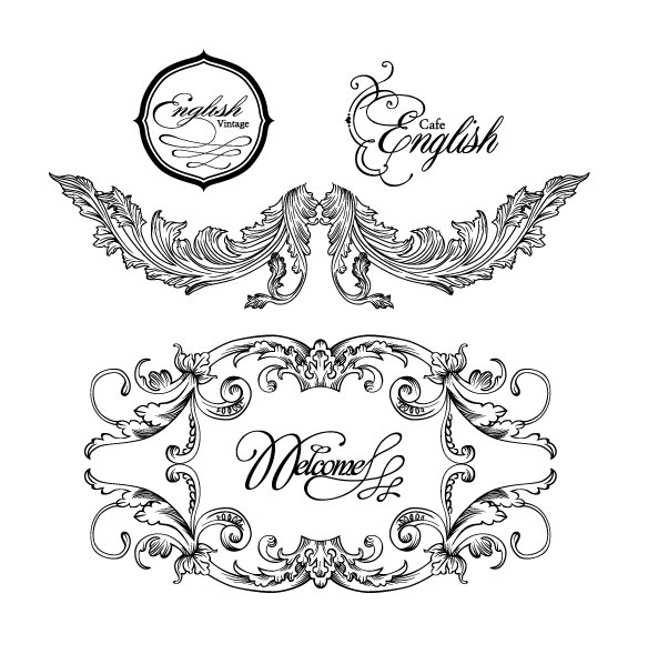 Free EPS file Fine Ornaments lace and Borders vector graphic 05