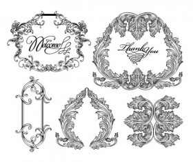 Fine Ornaments lace and Borders vector graphic 06